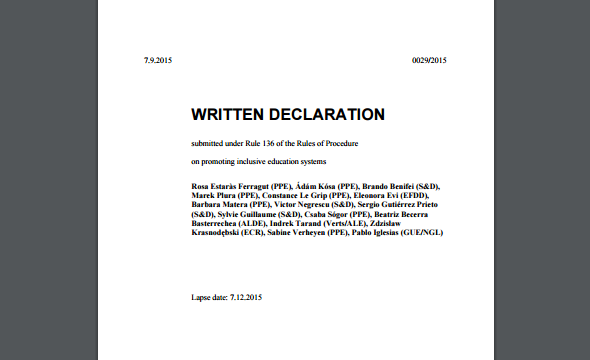 Written Declaration on Promoting Inclusive Education Systems in Europe